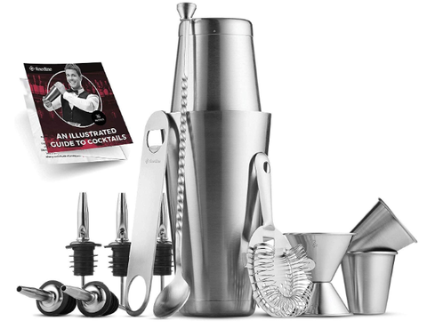 Premium Cocktail Shaker Bar Tools Set (14 piece) Brushed Stainless Steel Bartender Kit - AdvancedMixology