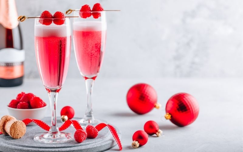 Rose Prosecco with raspberries