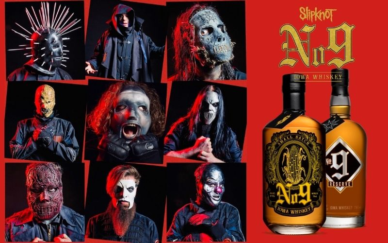 Side by side of Slipknot and No. 9 whiskey