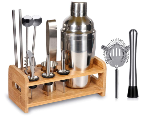 SuperSun 15 Piece Bartender Kit Cocktail Shaker Set with Stand: Home Bar Tools Set - AdvancedMixology