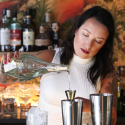 Tania Shamshur Pouring a Tequila to a jigger