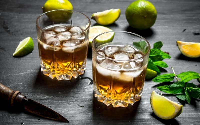 Two glasses of rum-based cocktail