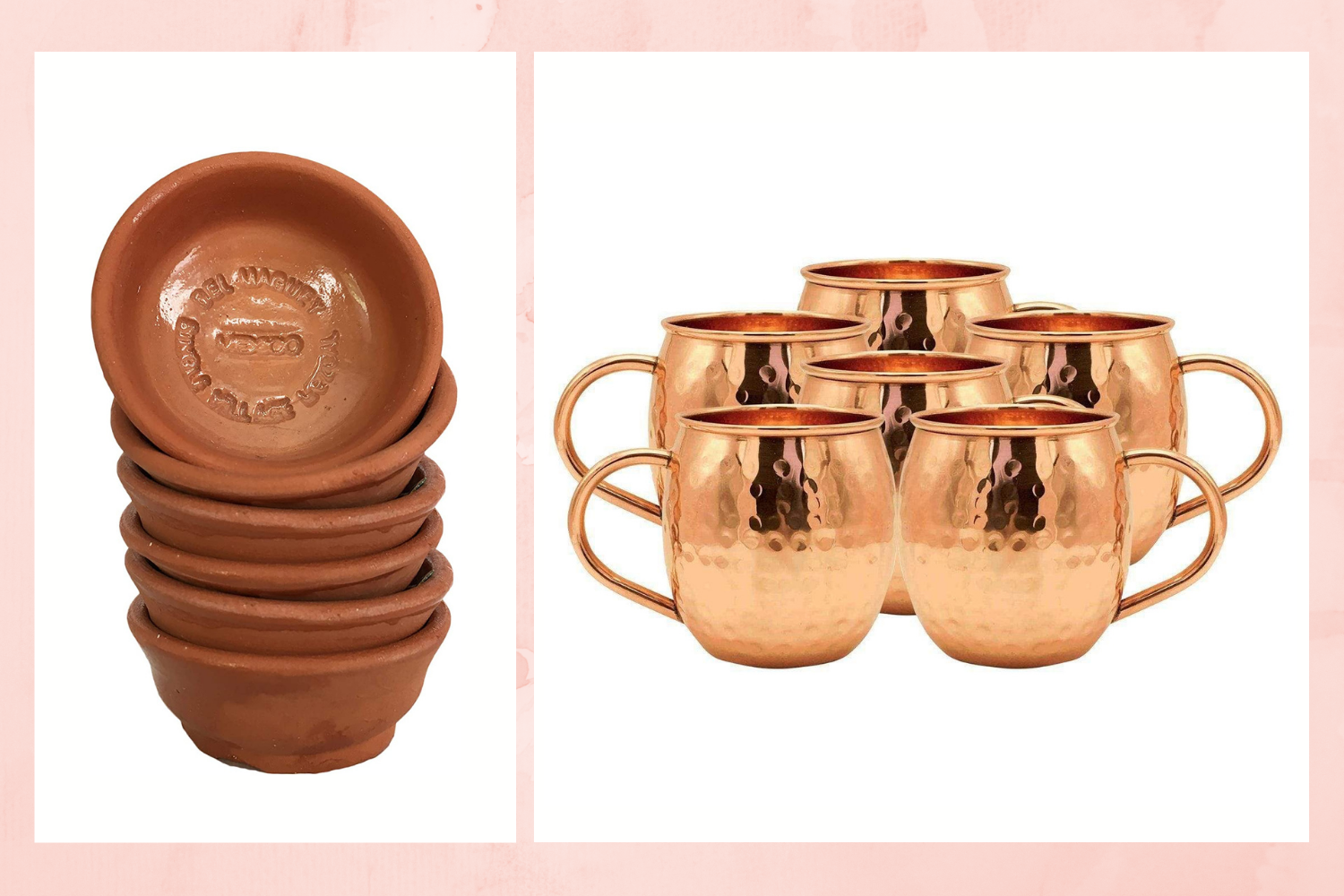 Mezcal vessels (left: copitas; right: copper mugs) - Image by Amazon and Advanced Mixology