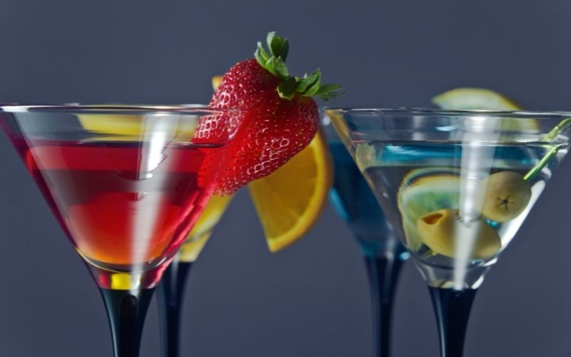 Various Cocktails with fruit granishes