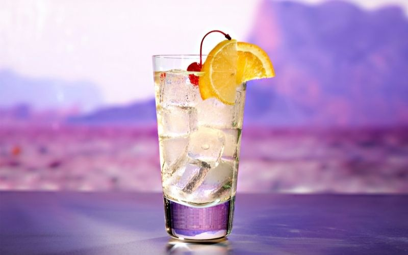 A glass of vodka collins cocktail