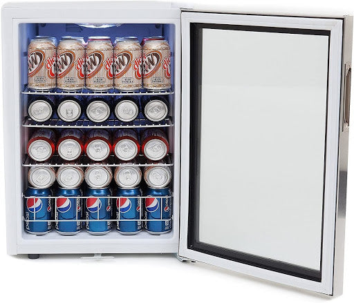Whynter BR-091WS Beverage Cooler with various canned drinks
