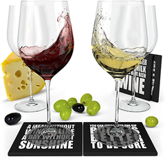 Wine Science Red Wine & White Wine Glasses with coasters, Set of 4