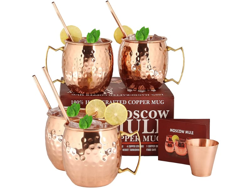 A29 Moscow Mule Copper Mug Set with a shot glass and manual