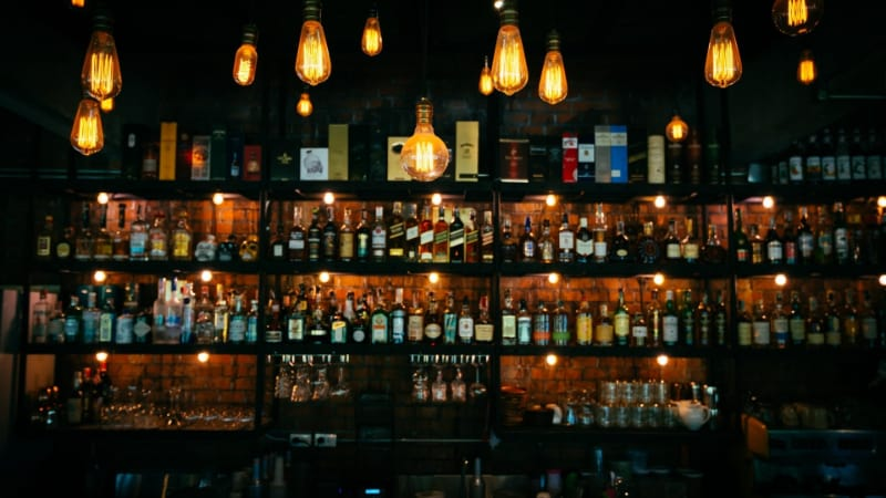 A bar stacked with liquors