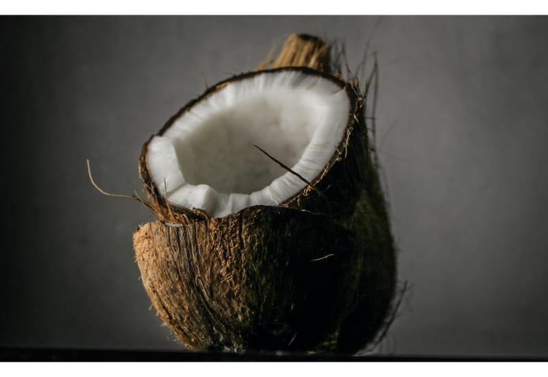 A cracked coconut