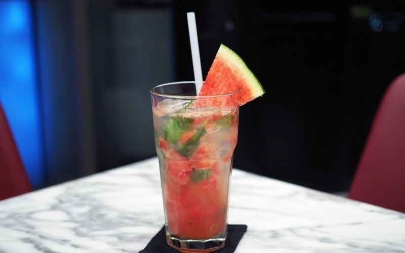 A Glass of sparkling Watermelon Lychee Cocktail