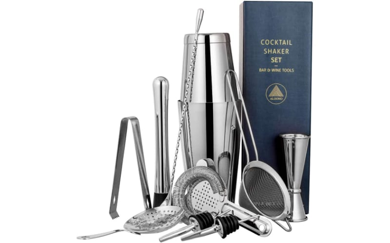 Aloono Drink Shaker set with other bar tools and a gift box