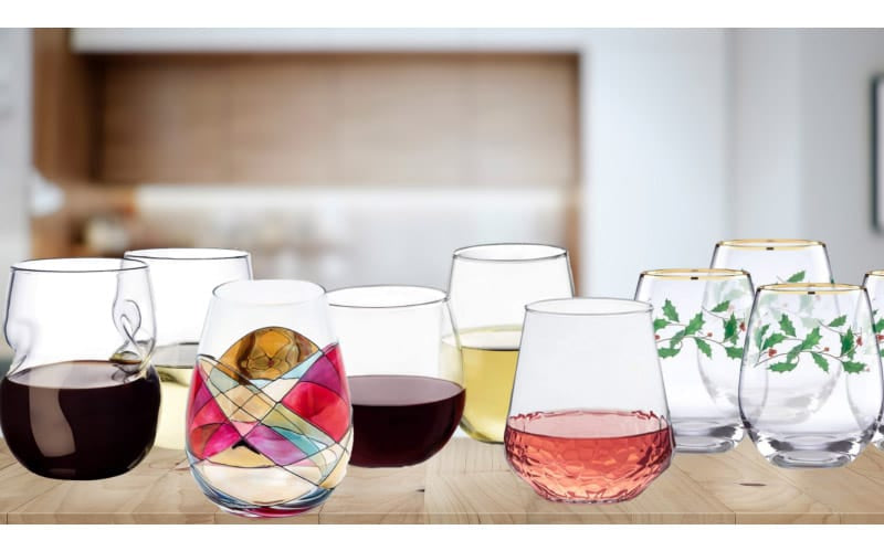 Best Stemless Wine Glasses on a kitchen table
