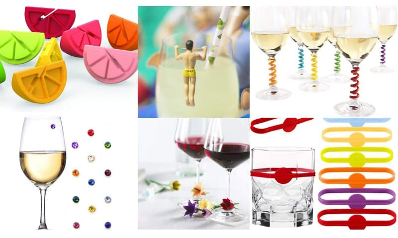 Different wine charms and drink markers