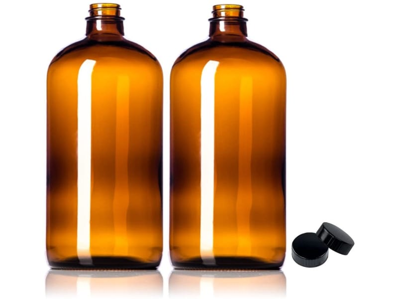 Amber Glass Growler with Polycone Lids