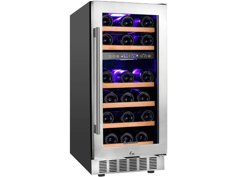 Aobosi Wine Refrigerator with wine bottles inside