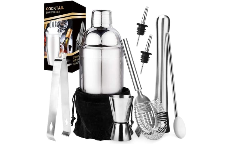 Appolab Cocktail Shaker Bar Set with other bar tools and a gift box