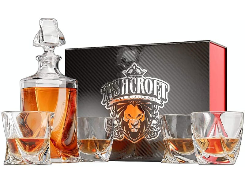 Ashcroft 5-piece Twist Bourbon Decanter Set with whiskey and a gift box