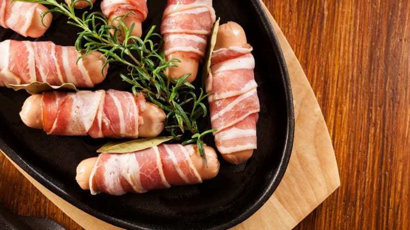 Bacon-Wrapped Smoked Sausage