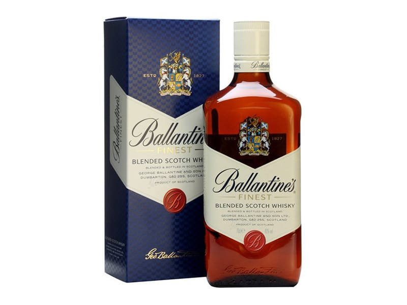 A bottle of Ballantine's Blended Scotch Whisky with box