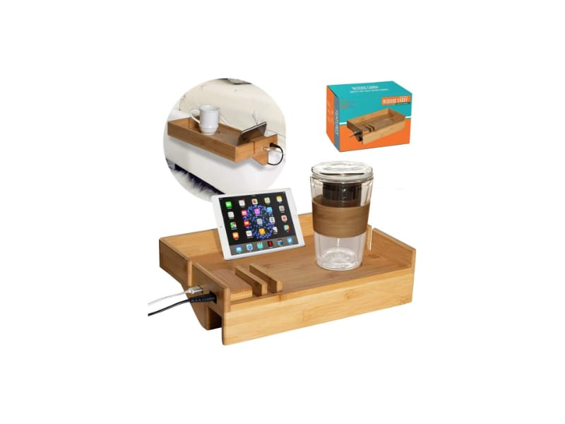 Bamboo Bedside Bed Shelf with USB Ports