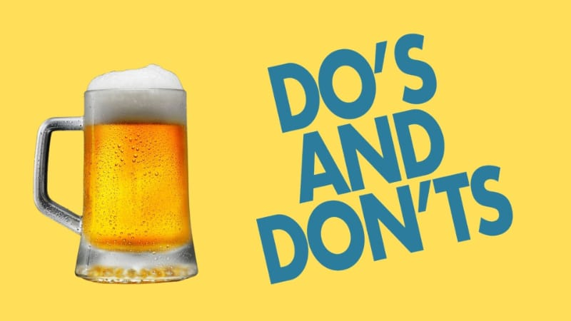 Beer glass with do's and don'ts text