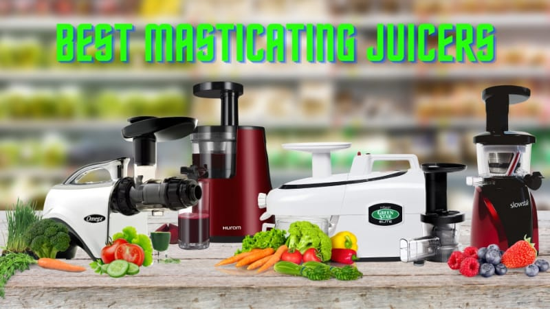 masticating juicers on a table