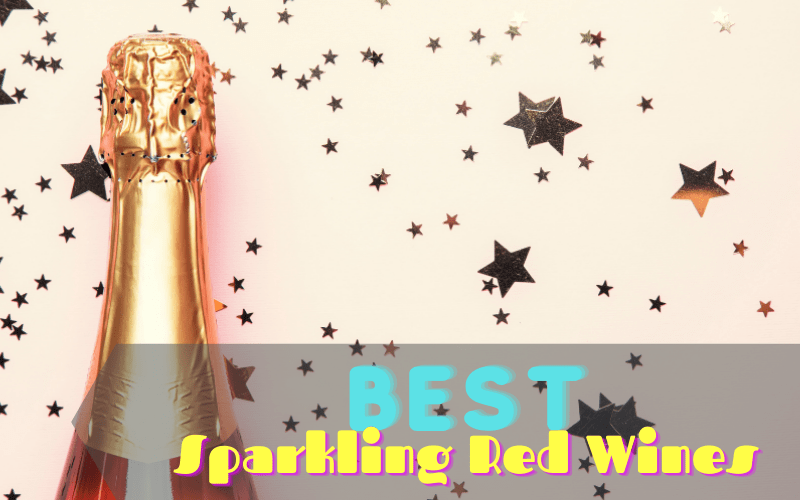 A bottle of sparkling red wine in a pink starry background