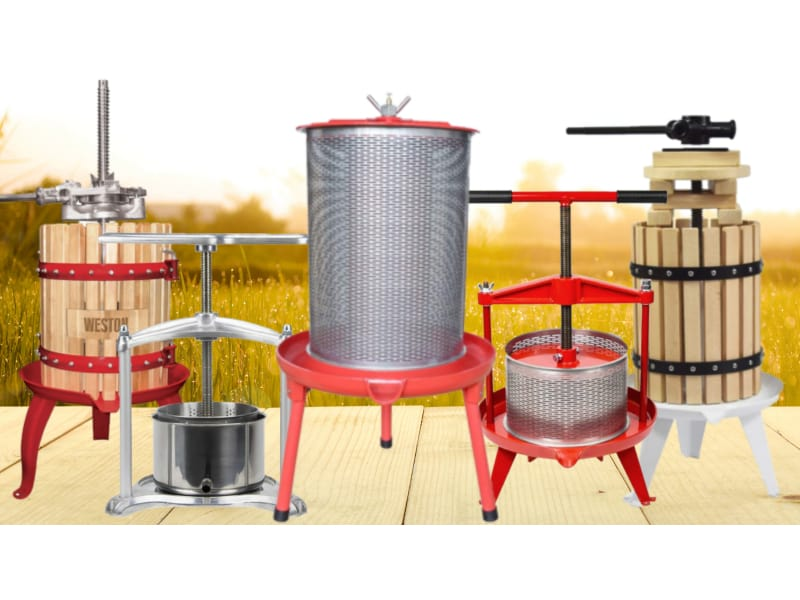 Best Wine Presses on a wooden table and grassy background