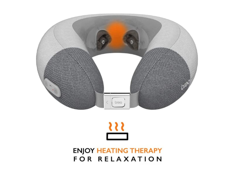 Breo Inflatable Massage Travel Pillow with Heat Therapy