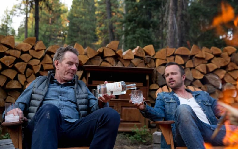 Bryan Cranston and Aaron Paul with a bottle of Don Hombres