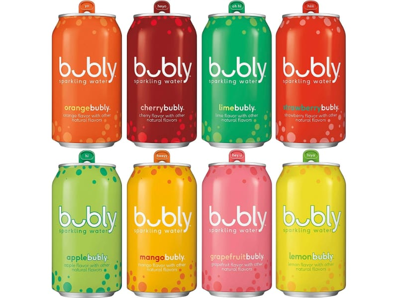 different flavors of bubly sparkling water