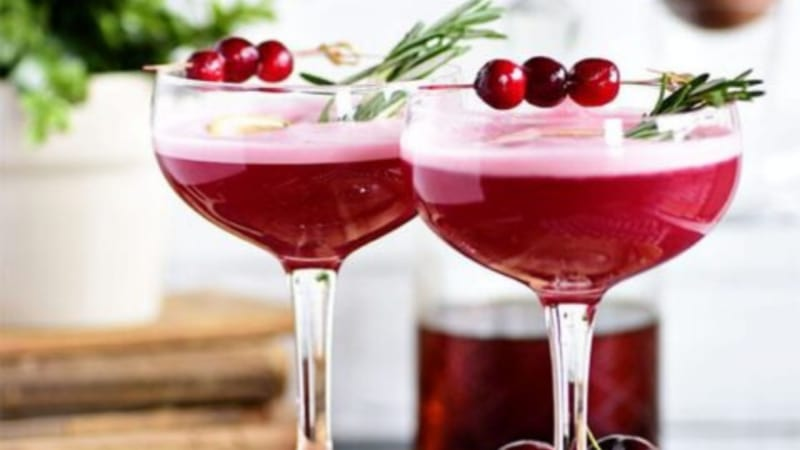 2 Cherry Pie Cocktails in a coupe glass