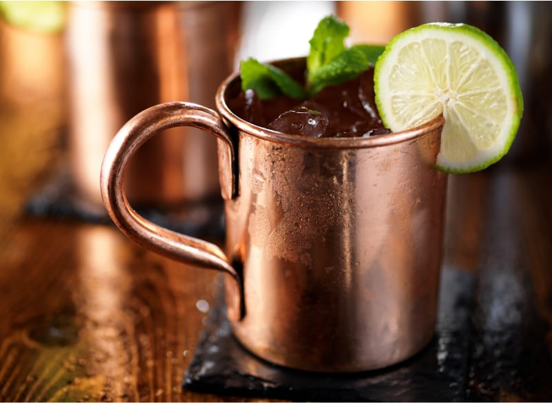 Classic low carb Moscow mule on wooden table