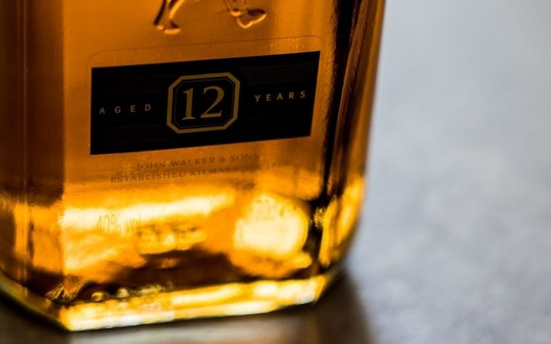 Close-up photo of a 12-year old whiskey bottle review