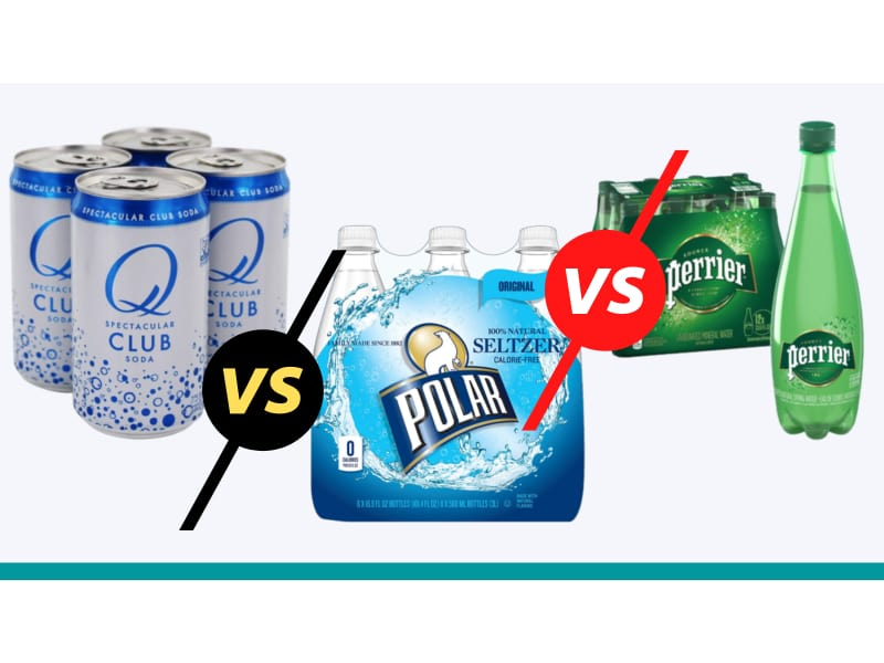 Club soda vs Seltzer vs Sparkling Water in gray background with teal strip
