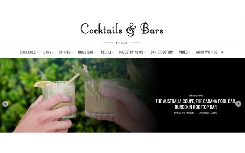 Cocktails and Bars website