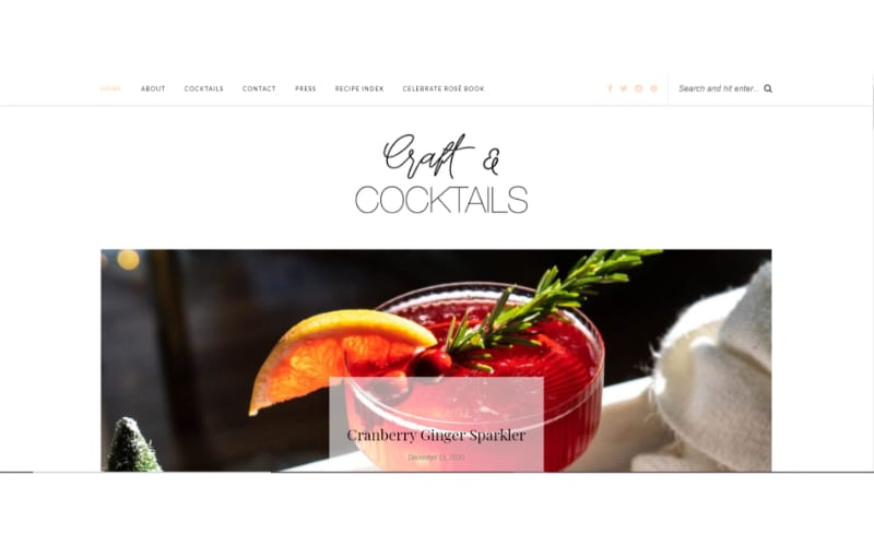 Craft and Cocktails website