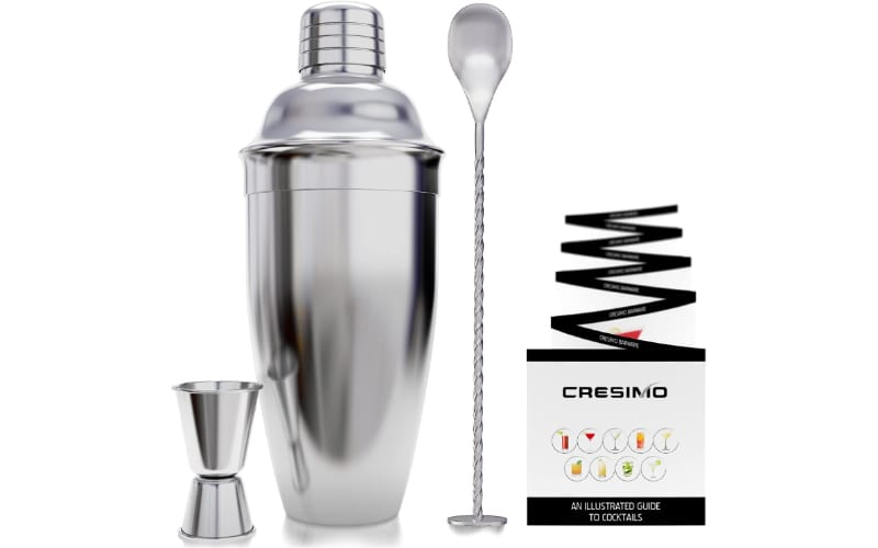 Cresimo Cocktail Shaker Set with double jigger, bar spoon, and recipe booklet