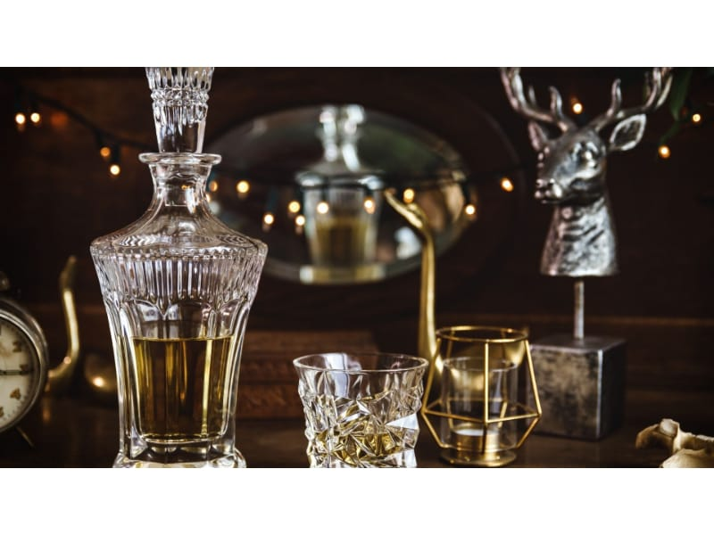 Crystal decanter with liquor and shot glass