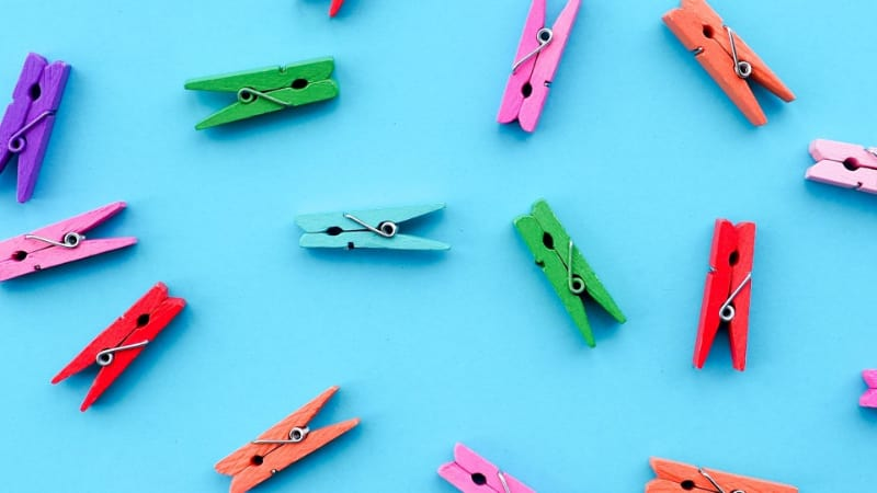 Different colored clothespins