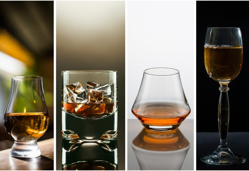 Different glasses of whiskey