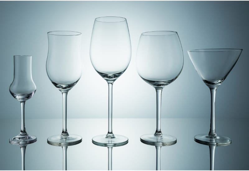 Different shapes and sizes of wine glass