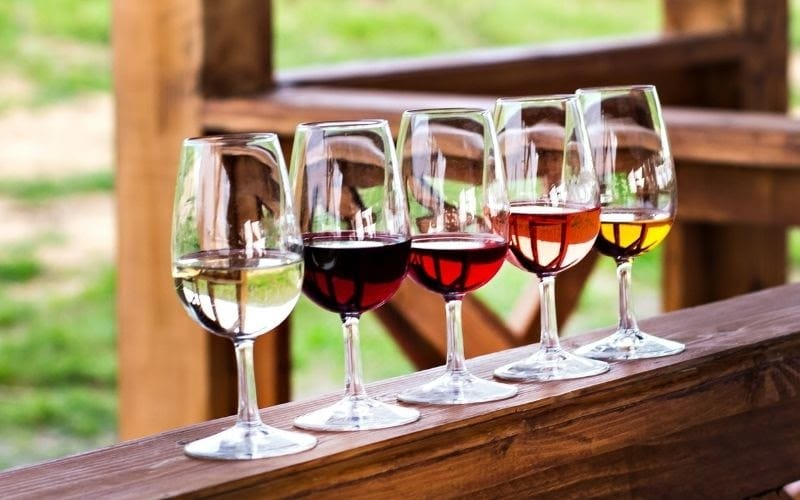 Different wine types in wine glasses