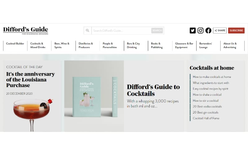Difford's Guide for Discerning Drinkers website