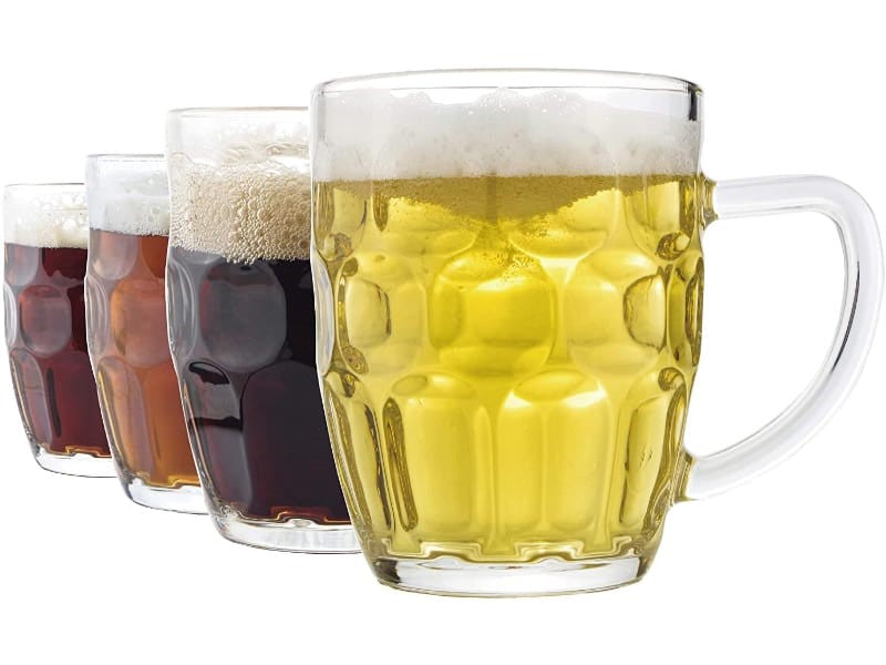 Dimple mugs filled with beer