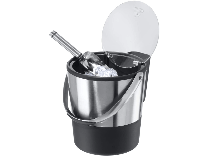 Double-Wall Stainless Steel/Black Insulated Ice Bucket