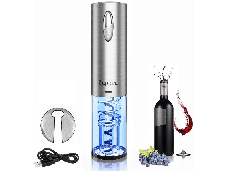 Zupora Wine Bottle Opener with charging base and cord and bottle of wine