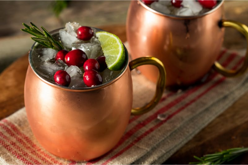 Festive Moscow Mule with Cranberries