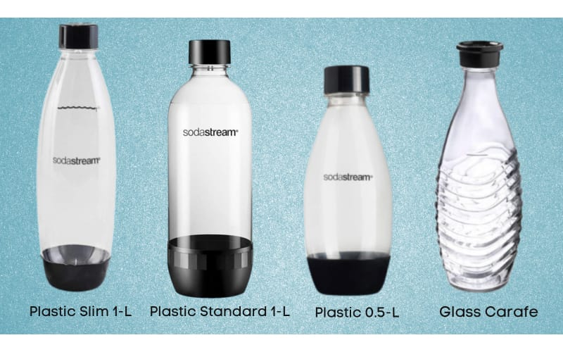 Four types of SodaStream bottles with labels